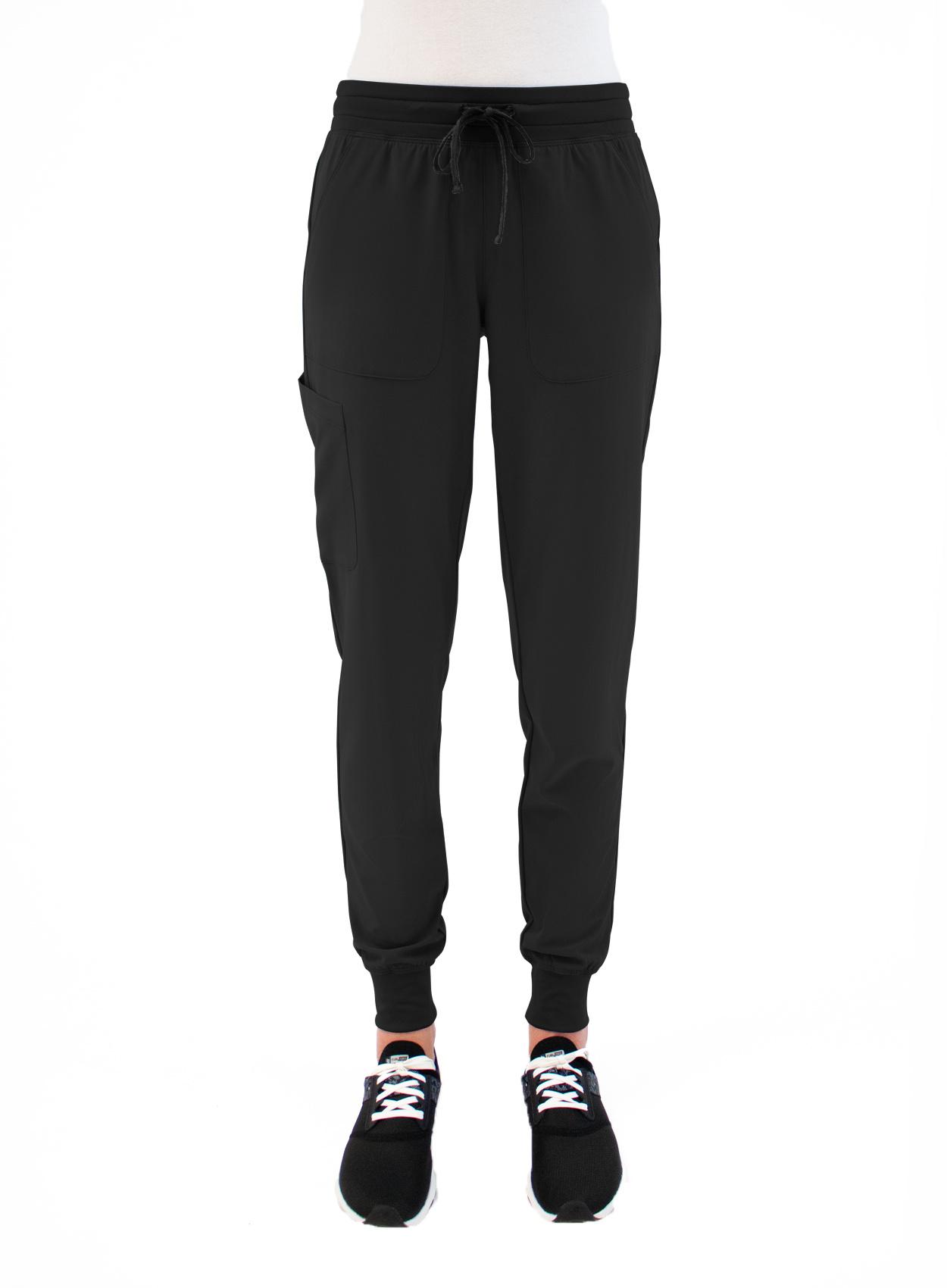 MATRIX IMPULSE Black Yoga Waistband Petite Women's Jogger Scrub Pants 8520P