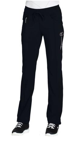 CHEROKEE Black Low Rise Straight Leg Drawstring Pant 1123A