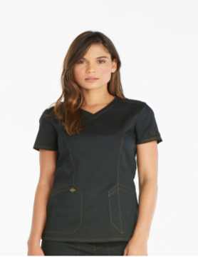 DICKIES Black Essence V-Neck Women's Top DK803