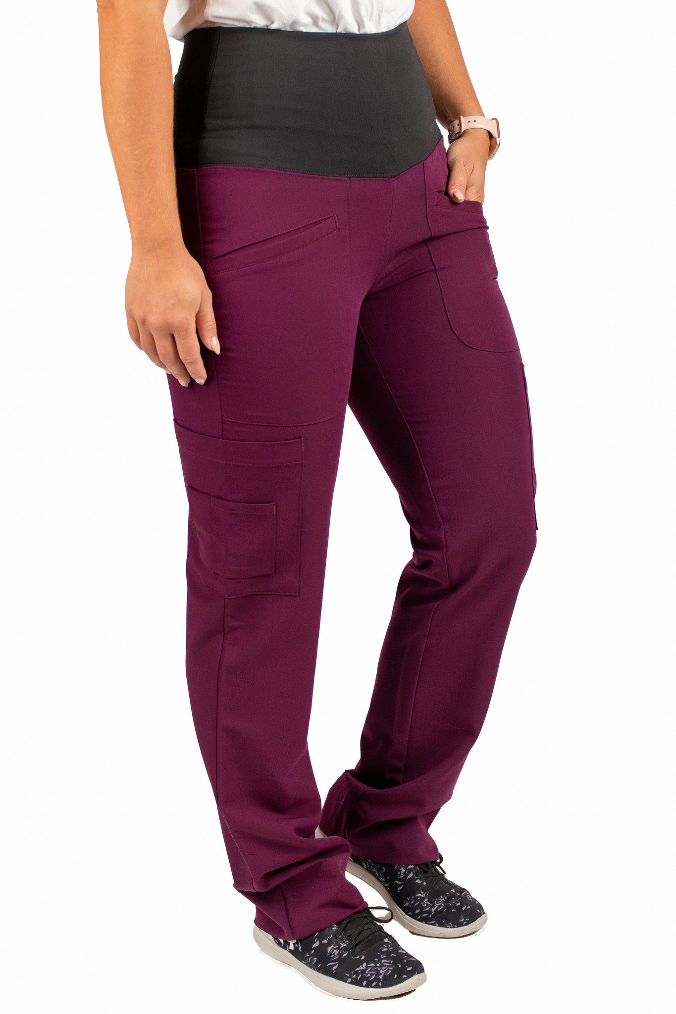 Burgundy Women's Yoga Waistband Pants 985