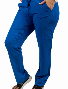 Excel Royal Blue Women's Drawstring Waistband Fitted Scrub Pants 960