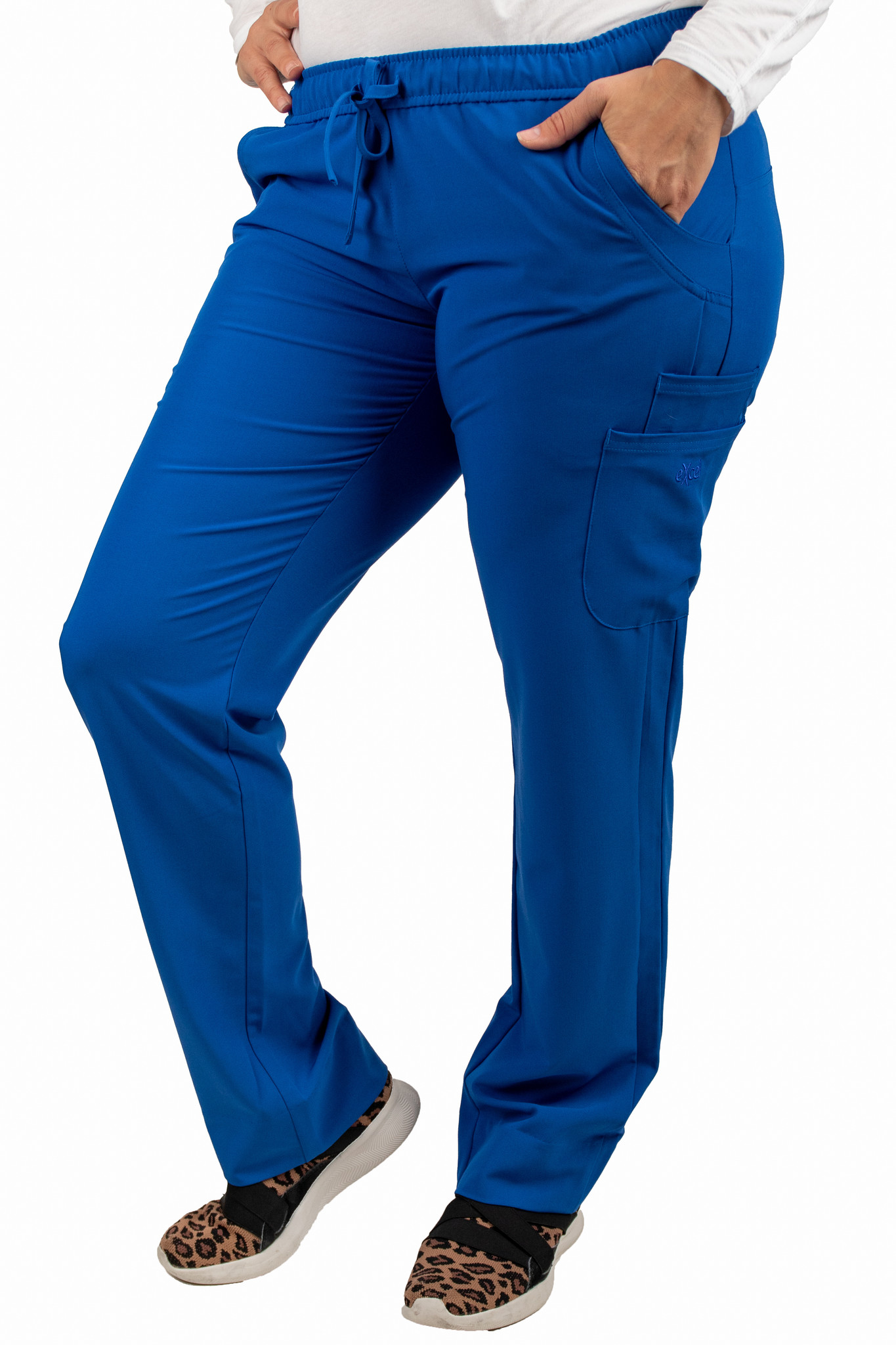Royal Blue Women's Drawstring Waistband Fitted Pants 960