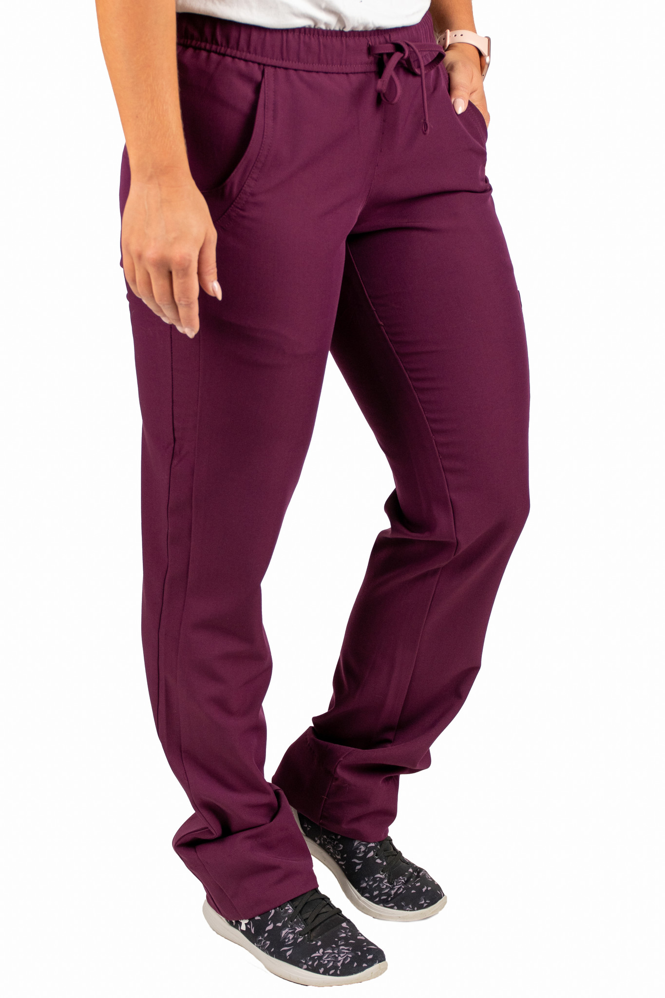 Burgundy Women's Drawstring Waistband Fitted Pants 960