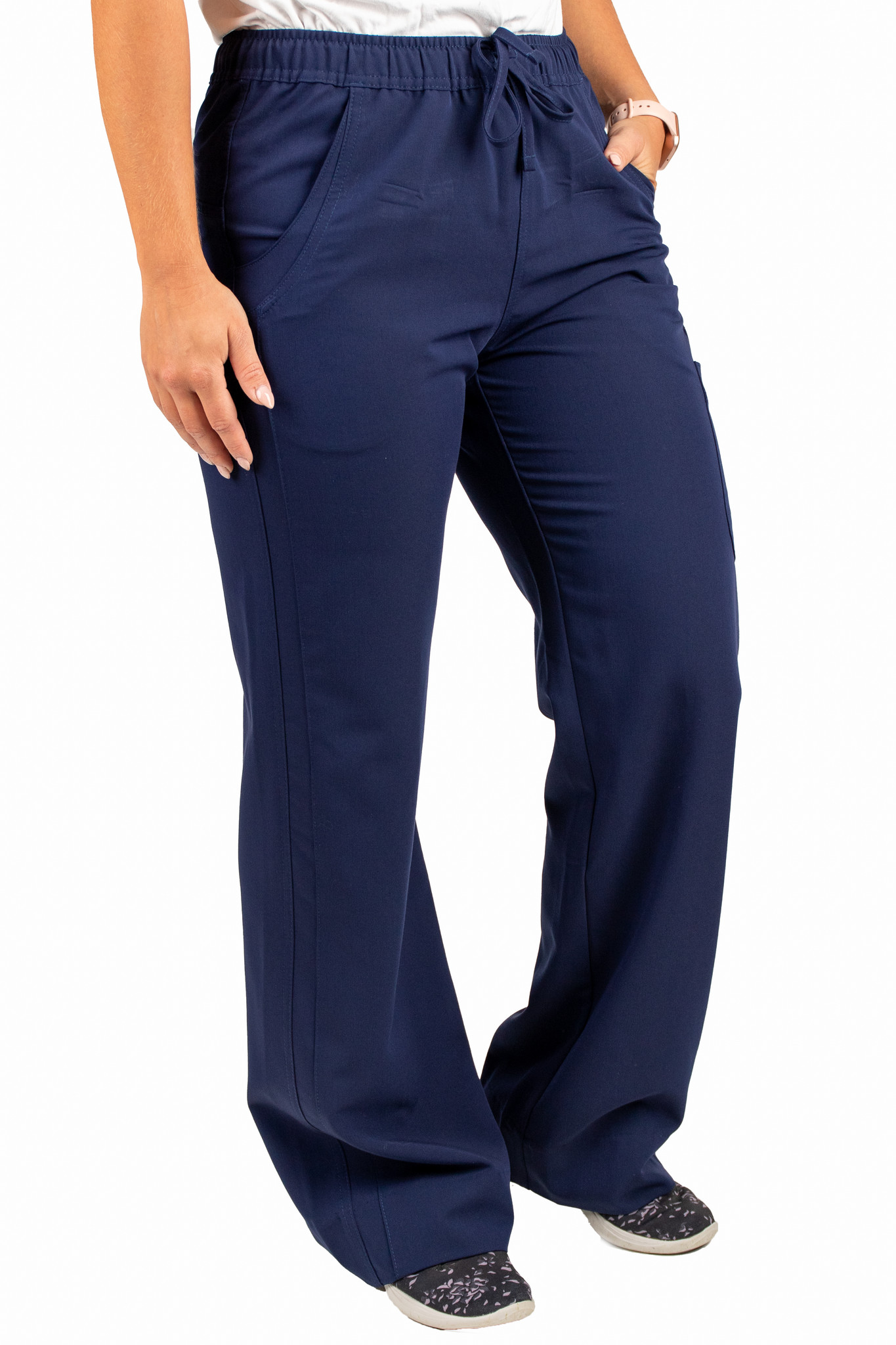 Navy Blue Women's Drawstring Waistband Fitted Pants 960