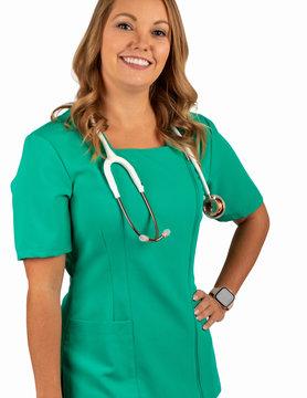 Excel Emerald Full Length Zipper Women's Scrub Top 590