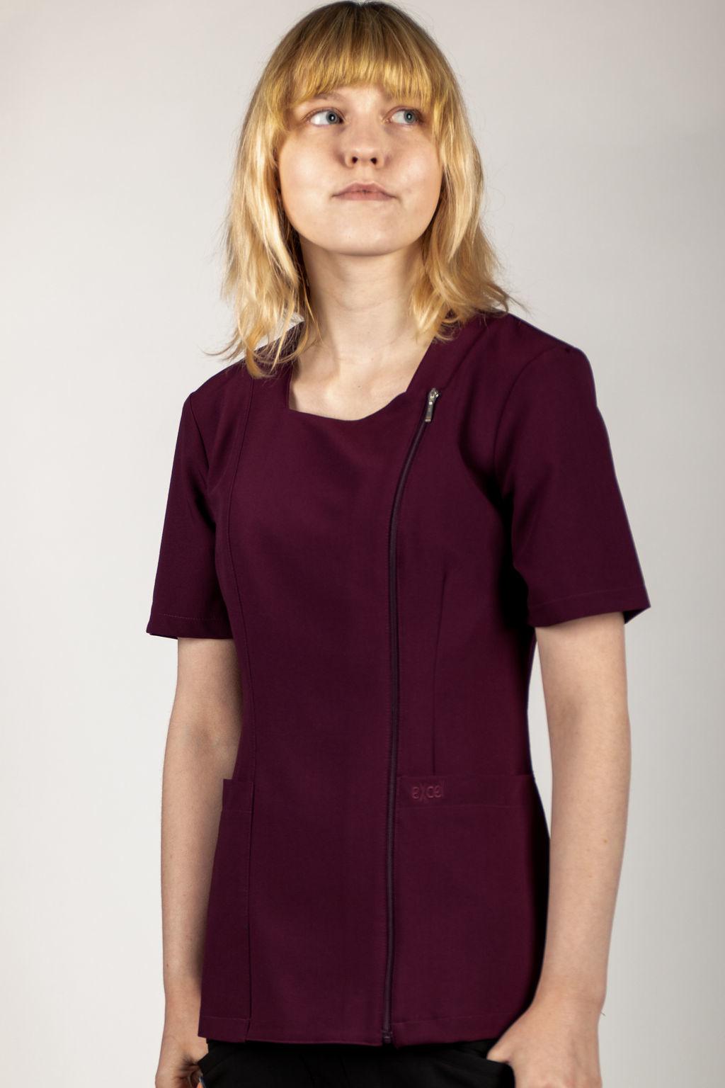 Burgundy Full Length Zipper Women's Top 590