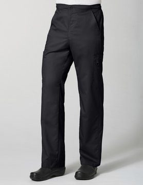 Black Men's Half Elastic 8-Pocket Tall Cargo Pants 8308T