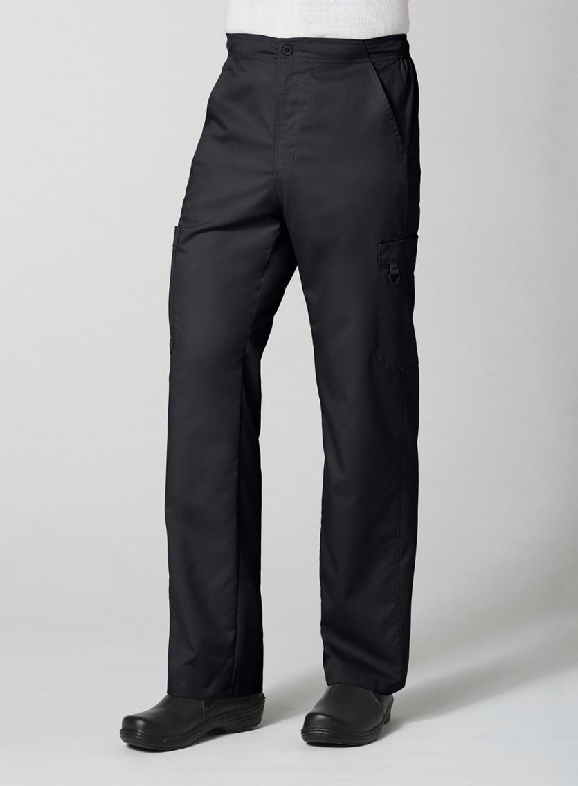Black Men's Half Elastic 8-Pocket Tall Cargo Pants 8308T