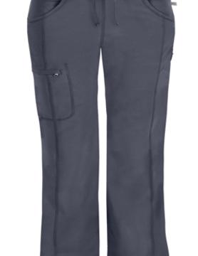CHEROKEE Cherokee Pewter Grey Low Rise Straight Leg Women's Drawstring Petite Scrub Pants 1123AP