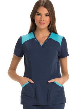 HEART SOUL Navy/Turquoise Heart Soul Women's Scrub Top Large HS652 DR10B
