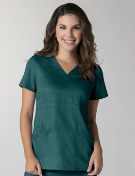 Hunter Green Women's Back Mesh Panel Mock Wrap Top 1748