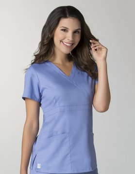 Ciel Blue Women's Back Mesh Panel Mock Wrap Top 1748