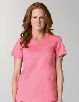 Strawberry Pink Women's Back Mesh Panel Mock Wrap Top 1748