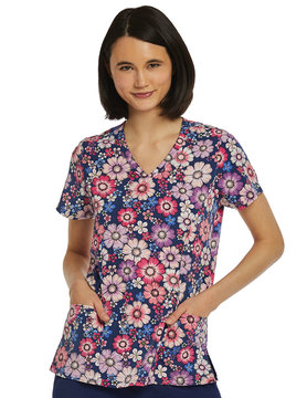 Prints Printed Curved V-Neck Women's Scrub Top 1747 FPT