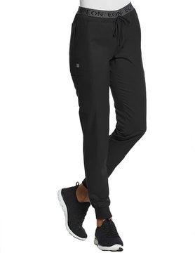 EON Sports Eon Sports Black Full Elastic Logo Waist Women's Jogger Scrub Pants 7378