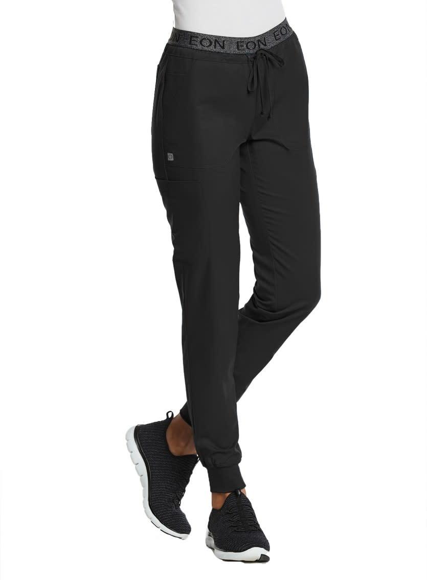 EON Sports Black Sporty Full Elastic Logo Waist Jogger Pants 7378