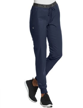 EON Sports Navy Blue Sporty Full Elastic Logo Waist Jogger Pants 7378