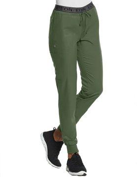 EON Sports Eon Sports Olive Full Elastic Logo Waist Women's Jogger Scrub Pants 7378