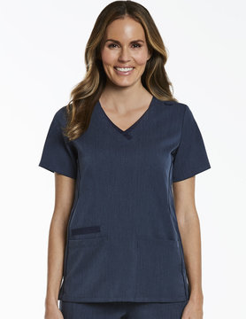 Matrix Pro Heather Navy Contrast Double V-Neck Top 3901