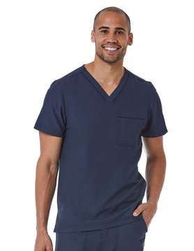 Matrix Pro Men's Heather Navy Men's Contrast Piping V-Neck Top 5901