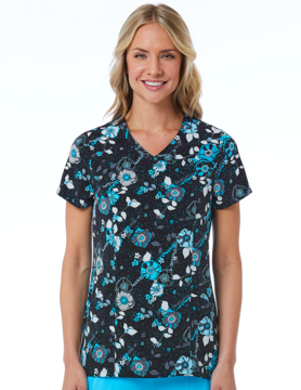 Prints Curved V-Neck Print Top 1747 BLB