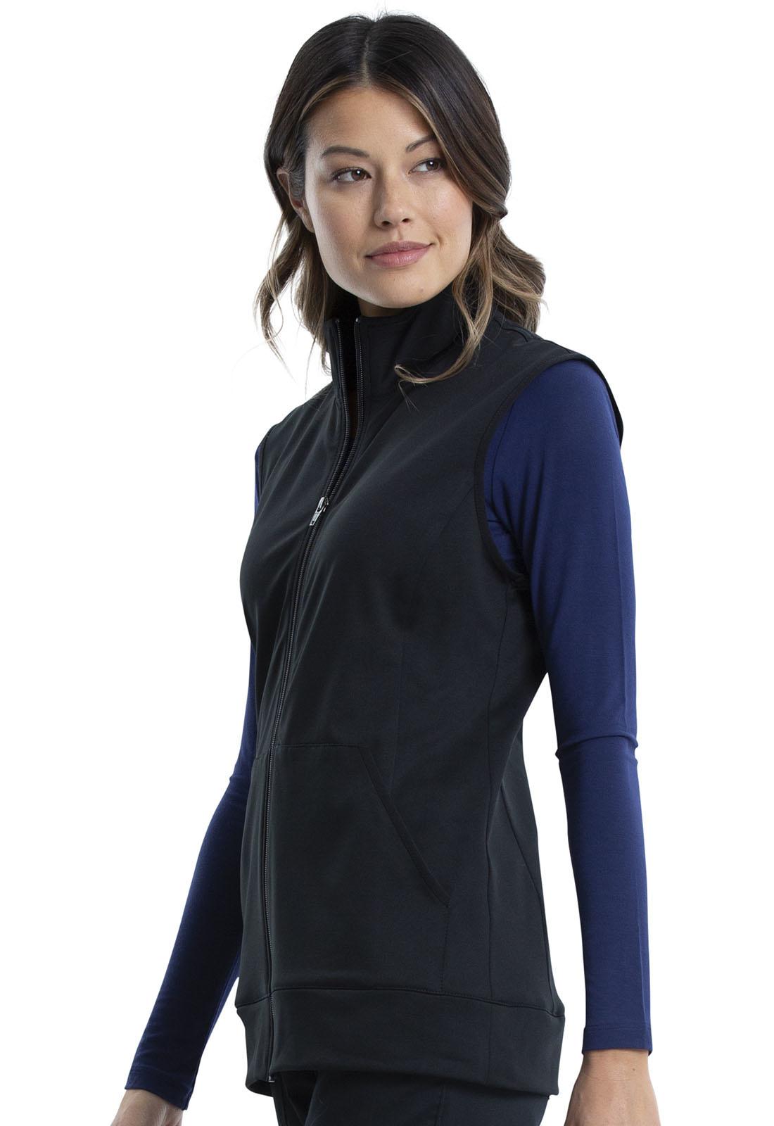 CHEROKEE WORKWEAR Zip Front Vest Black WW521