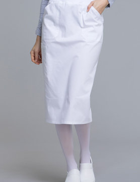 CHEROKEE WORKWEAR Knit Waistband Skirt White WW510