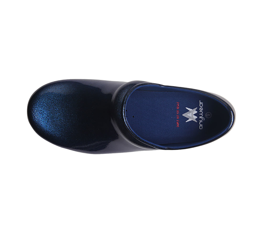 ANYWEAR Closed Back Navy Pearlized Glitter Shoes