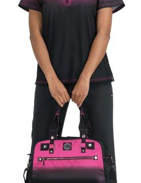Koi Lite Koi Lite Liberty Pink/Black Women's  Scrub Top 386PR-FL02