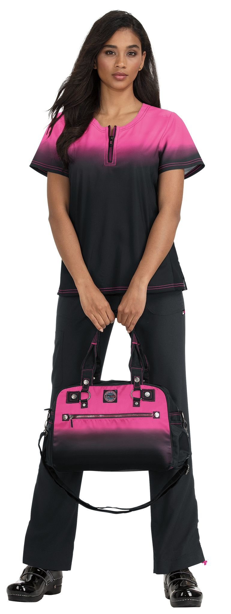 Koi Lite Pink/Black Koi Lite Liberty Women's  Top 386PR-FL02