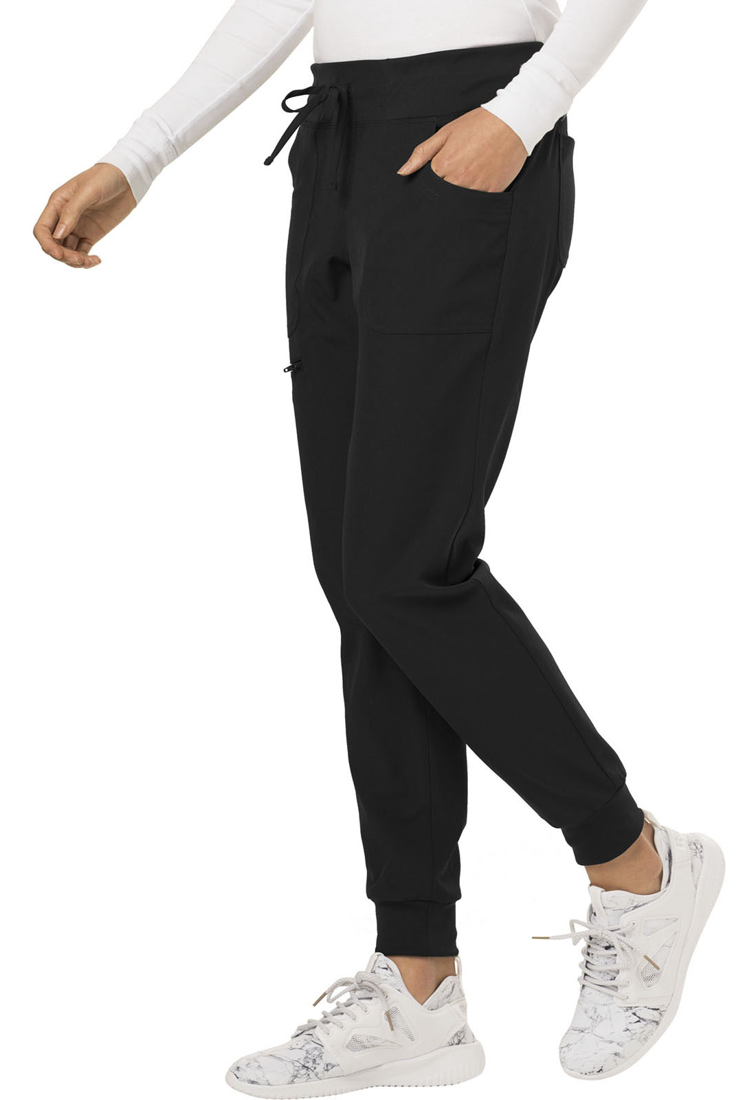 HEART SOUL Black Women's Tall Jogger Scrub Pants HS030T-BCKH