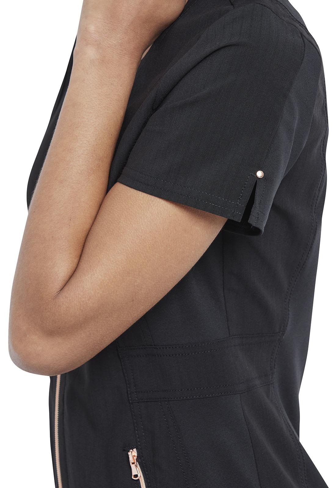 CHEROKEE Full Zip Front Black Scrub Top CK915-BLK