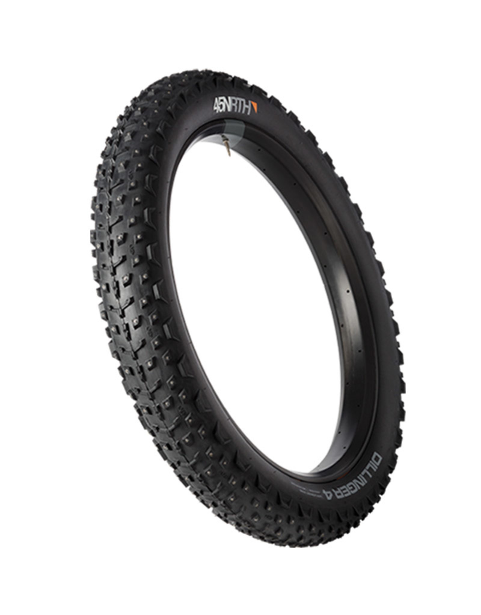 45NRTH 45NRTH Dillinger 4 Tire - 26 x 4, Tubeless, Folding, Black, 120tpi, 240 Concave Carbide Aluminum Studs