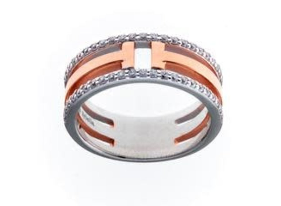 ROSE GOLD & CUBIC ZIRCONIA T- BAR RING (R9655-RG)