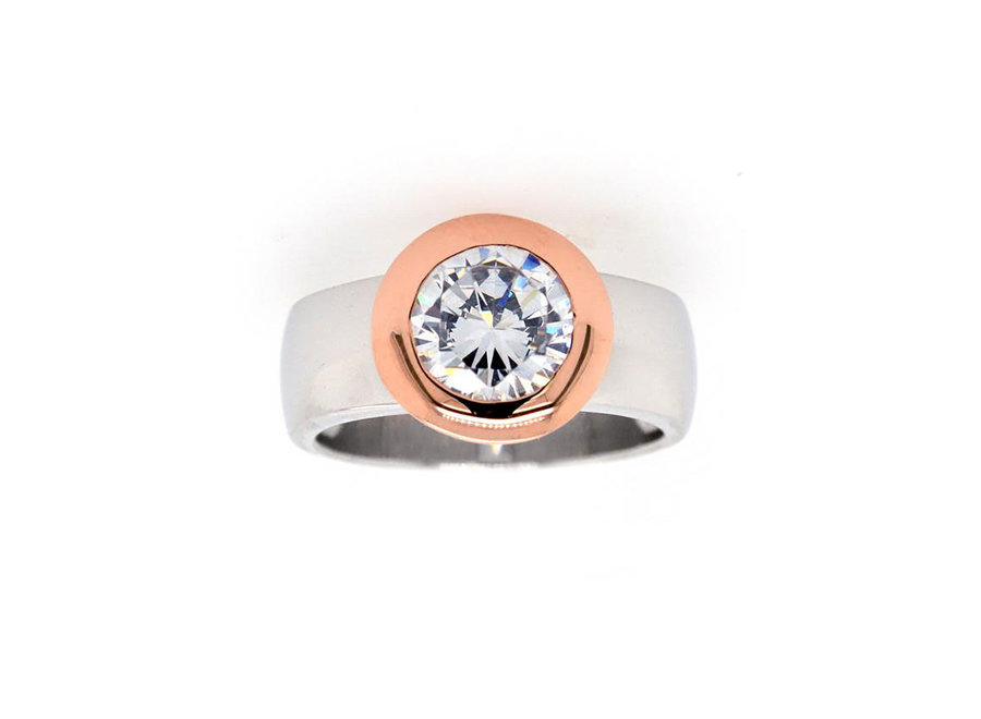 ROSE GOLD AND SILVER TWO TONE RING
