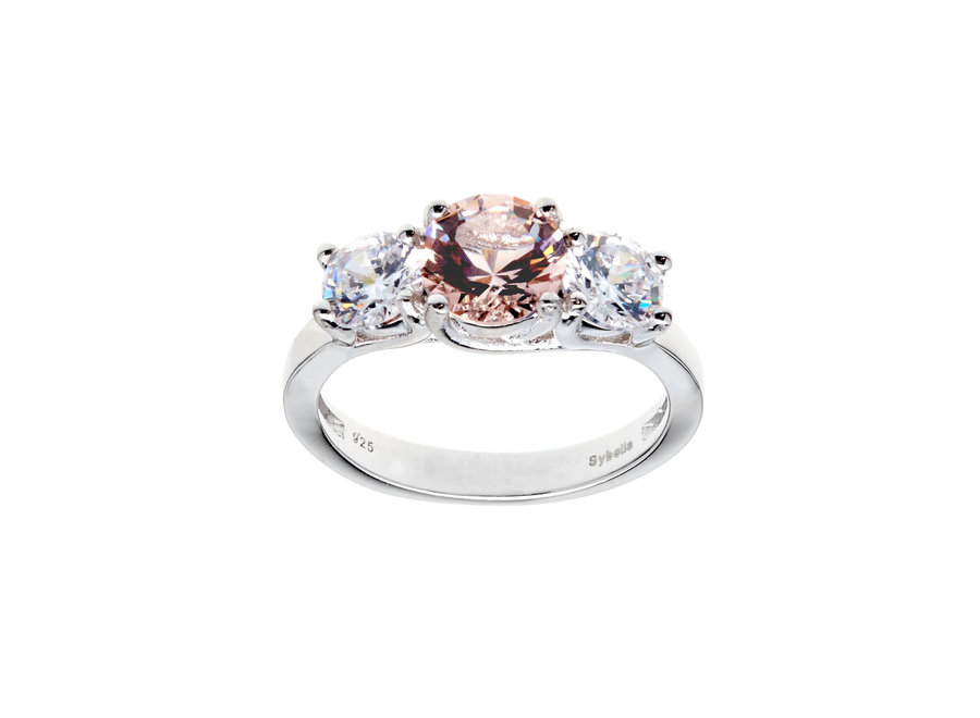 MORGANITE & CUBIC ZIRCONIA RING
