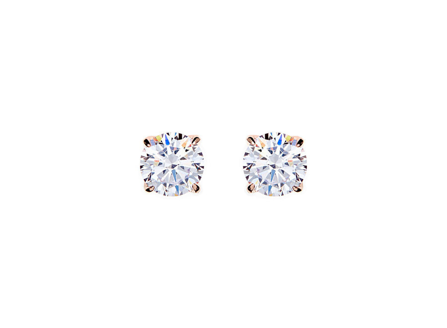 BRILLIANT CLAW-SET CUBIC ZIRCONIA ROSE GOLD STUD EARRINGS (E98-RG)