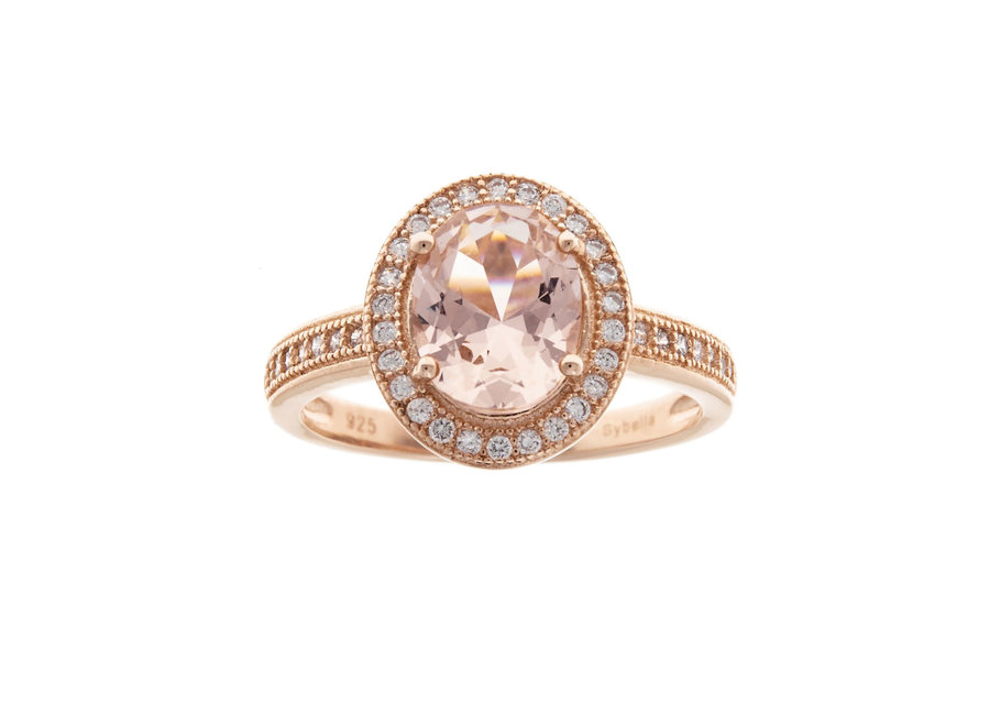 ROSE GOLD & PINK OVAL RING (R9760-RG)