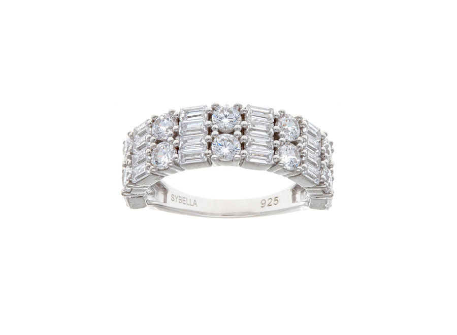 AMORE DOUBLE ROW SILVER RING (R10848-RH)