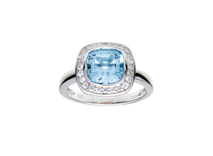 PHOEBE BLUE & CUBIC ZIRCONIA SQUARE RING