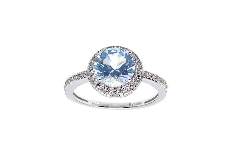 ROUND BLUE & CUBIC ZIRCONIA RING (R9993-RH)