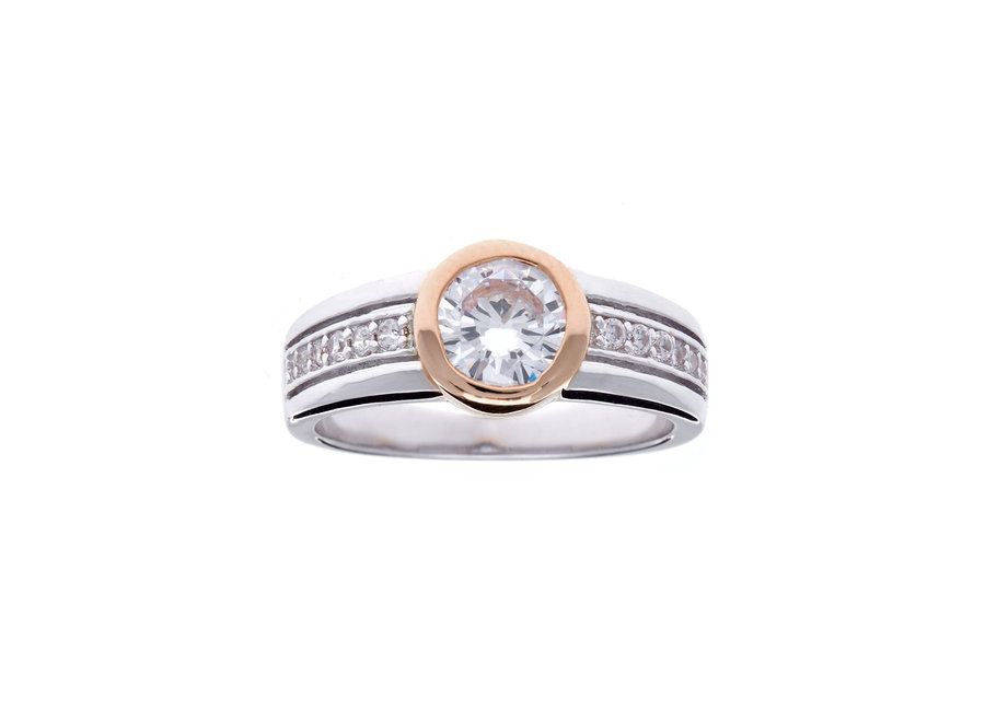 HALO ROSE GOLD & SILVER RING (R1375-RG)