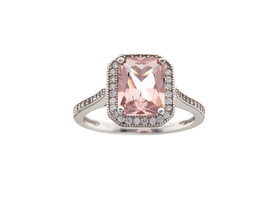 SILVER & PINK RECTANGLE RING