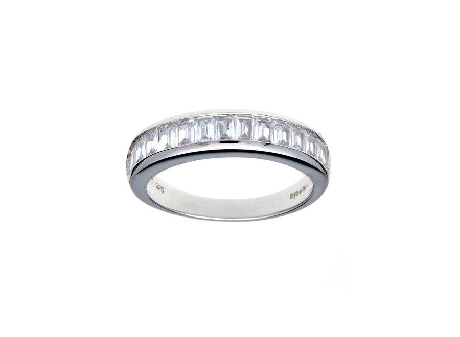 SILVER CLEAR EMERALD CUT RING (R7807)