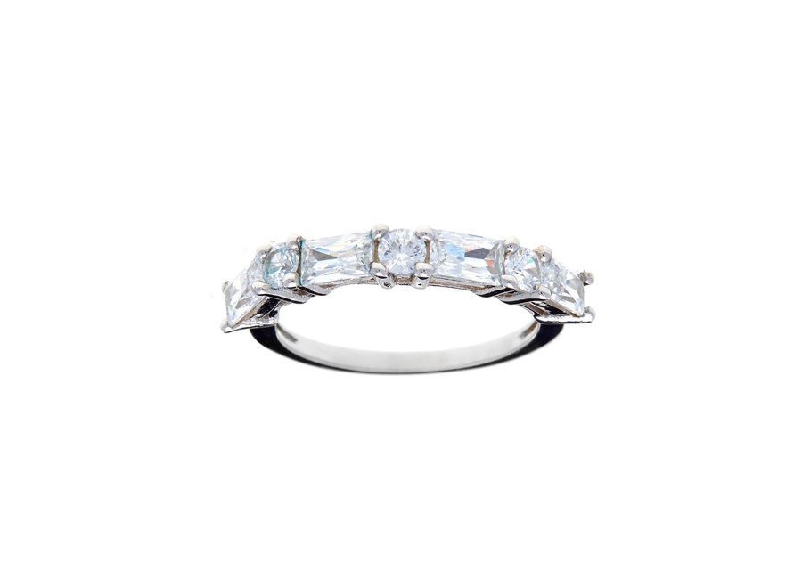 SILVER BAGUETTE CUBIC ZIRCONIA BAND RING