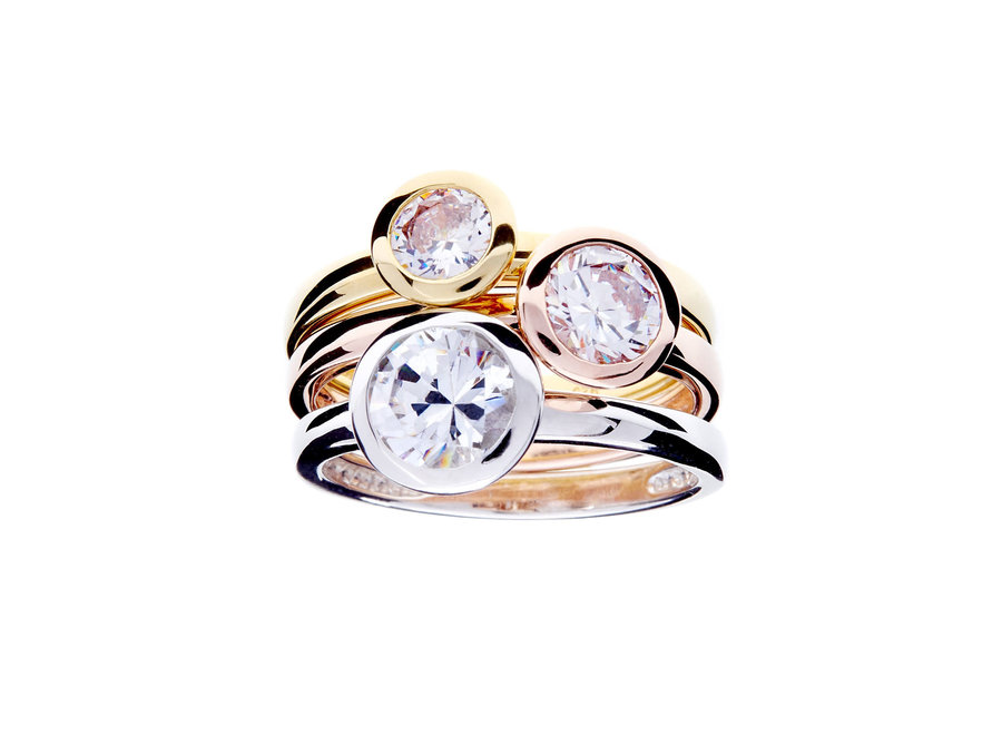 TARA TRI COLOURED CUBIC ZIRCONIA RING SET (R1701)