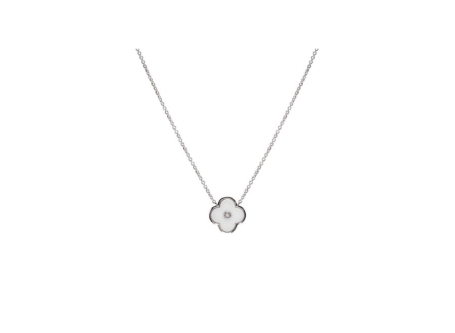 FLOWER WHITE & SILVER NECKLACE (P21-WRH)