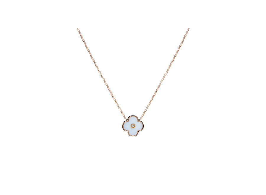 FLOWER WHITE & GOLD NECKLACE (P21-WGP)