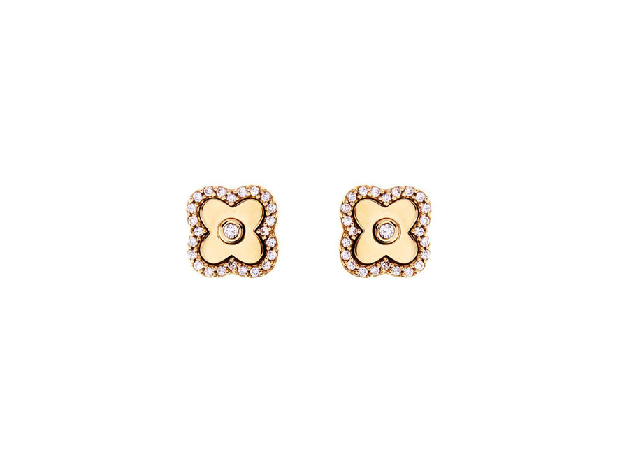 GOLD & CUBIC ZIRCONIA FLOWER STUDS (E495-GP)