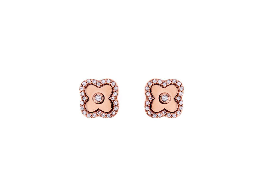ROSE GOLD & CUBIC ZIRCONIA FLOWER STUDS (E494-RG)